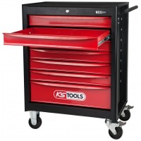 KS Tools ECOline black-red Workshop Trolley, 7 Drawers
